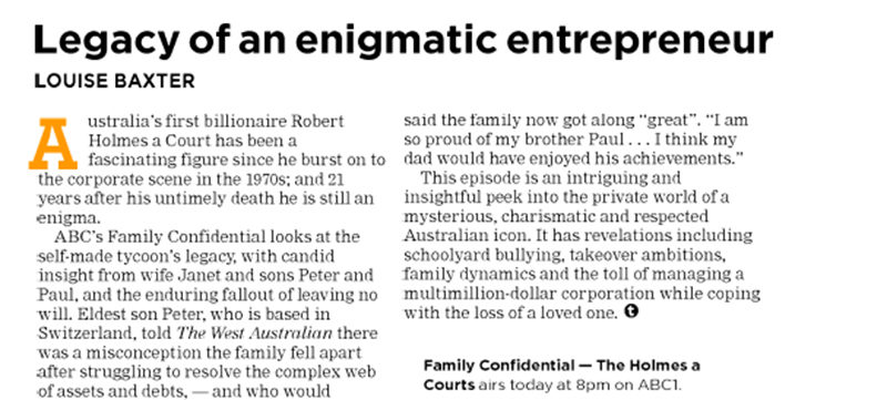 Family Confidential featured in West Australian